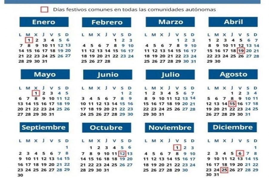 Calendario Festivo.El Calendario Laboral De Este Ano Cuenta Con 12 Dias