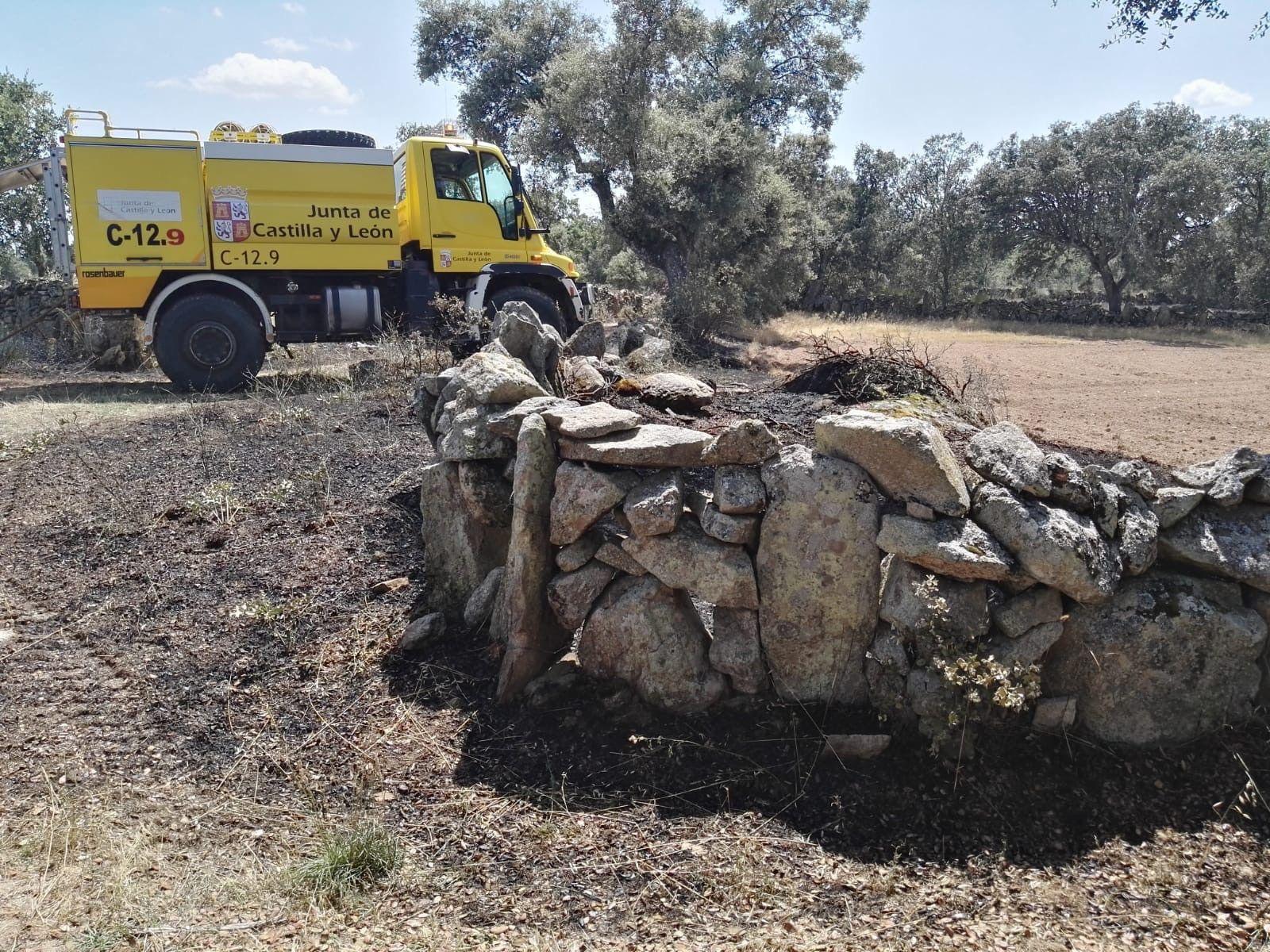 Dos incendios forestales en Torregamones movilizan a un amplio operativo de extinción