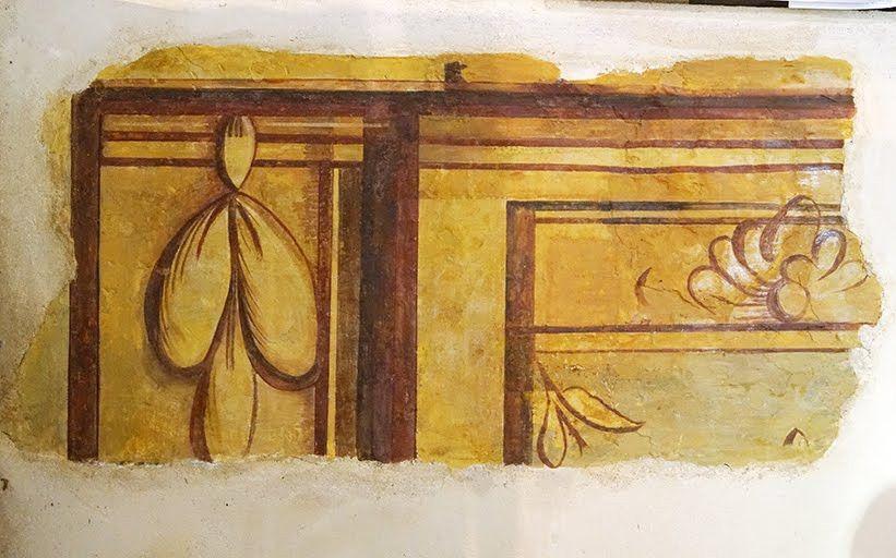 Retablo iglesia Santa Maru00eda del Ru00edo. Castroverde de Campos. Fragmento pintura mural bancada