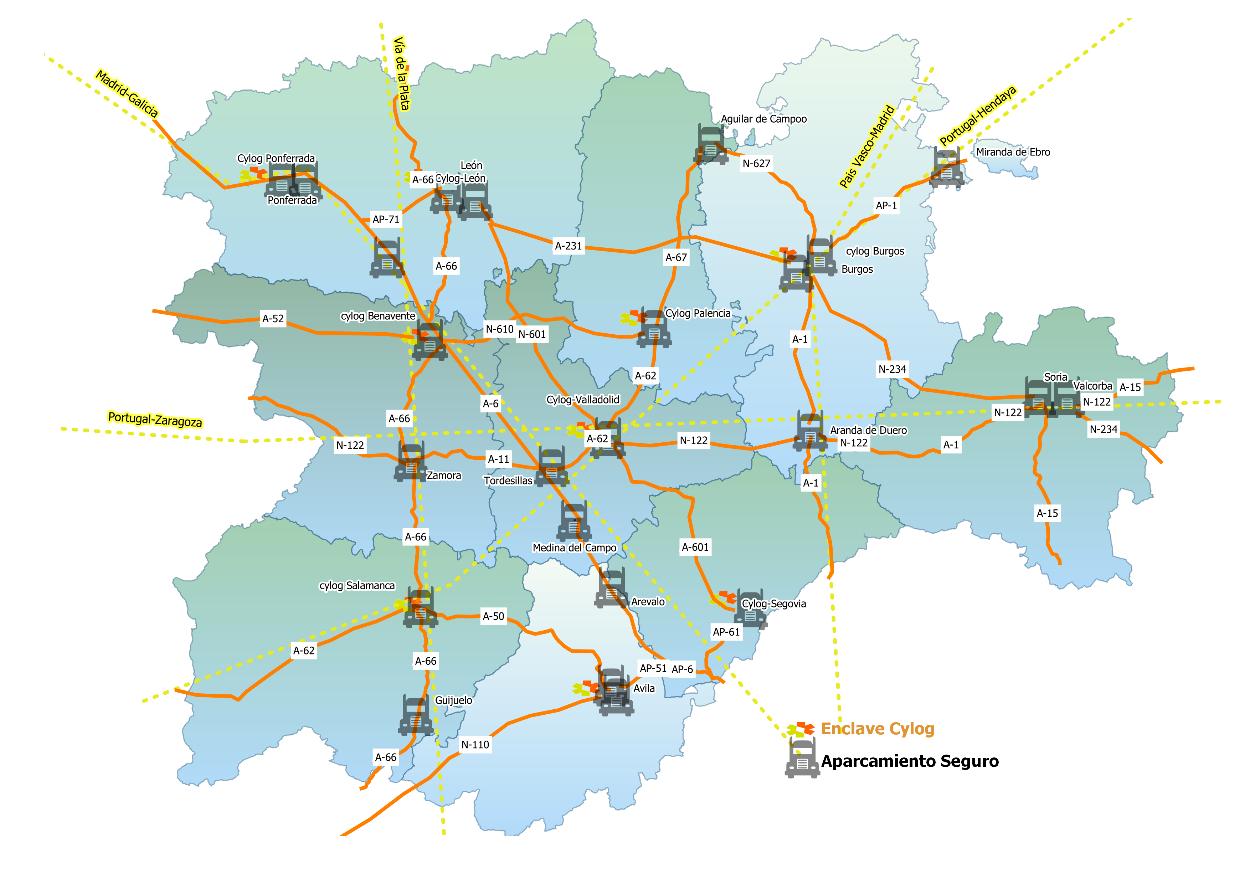 Mapa u00e1reas estacionamiento para camiones seguras y protegidas en Castilla y Leu00f3n
